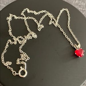 Red heart stone necklace